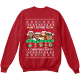 Rappers Rap Legends | Ain't Nothin But A Christmas Party | Tupac Biggie | Ugly Christmas Sweater [Unisex Crewneck Sweatshirt]-Crewneck Sweater (Unisex)-Red-Small-Over The Boardwalk Shirts