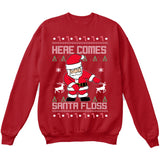 Here Comes SANTA FLOSS | Santa Claus | Ugly Christmas Sweater [Unisex Crewneck Sweatshirt]-Crewneck Sweater (Unisex)-Red-Small-Over The Boardwalk Shirts