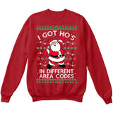 I Got Hos in Different Area Codes | Santa Claus | Ugly Christmas Sweater [Unisex Crewneck Sweatshirt]-Crewneck Sweater (Unisex)-Red-Small-Over The Boardwalk Shirts