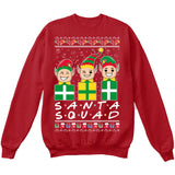 SANTA SQUAD | Elves Friends Logo | Ugly Christmas Sweater [Unisex Crewneck Sweatshirt]-Crewneck Sweater (Unisex)-Red-Small-Over The Boardwalk Shirts