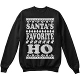 SANTA'S FAVORITE HO | Santa Claus | Ugly Christmas Sweater [Unisex Crewneck Sweatshirt]-Crewneck Sweater (Unisex)-Black-Small-Over The Boardwalk Shirts