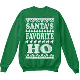 SANTA'S FAVORITE HO | Santa Claus | Ugly Christmas Sweater [Unisex Crewneck Sweatshirt]-Crewneck Sweater (Unisex)-Green-Small-Over The Boardwalk Shirts