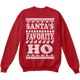 SANTA'S FAVORITE HO | Santa Claus | Ugly Christmas Sweater [Unisex Crewneck Sweatshirt]-Crewneck Sweater (Unisex)-Red-Small-Over The Boardwalk Shirts