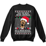 Twas the Nizzle Before Chrismizzle and all Through the Hizzle | Snoop Dog | Ugly Christmas Sweater [Unisex Crewneck Sweatshirt]-Crewneck Sweater (Unisex)-Black-Small-Over The Boardwalk Shirts