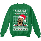 Twas the Nizzle Before Chrismizzle and all Through the Hizzle | Snoop Dog | Ugly Christmas Sweater [Unisex Crewneck Sweatshirt]-Crewneck Sweater (Unisex)-Green-Small-Over The Boardwalk Shirts