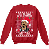 Twas the Nizzle Before Chrismizzle and all Through the Hizzle | Snoop Dog | Ugly Christmas Sweater [Unisex Crewneck Sweatshirt]-Crewneck Sweater (Unisex)-Red-Small-Over The Boardwalk Shirts