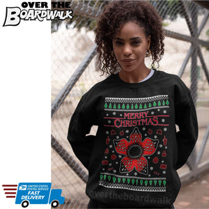 Stranger Things Demogorgon | TV Show | Ugly Christmas Sweater [Unisex Crewneck Sweatshirt]-Over The Boardwalk Shirts