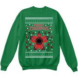 Stranger Things Demogorgon | TV Show | Ugly Christmas Sweater [Unisex Crewneck Sweatshirt]-Crewneck Sweater (Unisex)-Green-Small-Over The Boardwalk Shirts