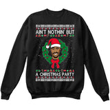 Ain't Nothin But A Christmas Party | Tupac 2Pac | Ugly Christmas Sweater [Unisex Crewneck Sweatshirt]-Crewneck Sweater (Unisex)-Black-Small-Over The Boardwalk Shirts