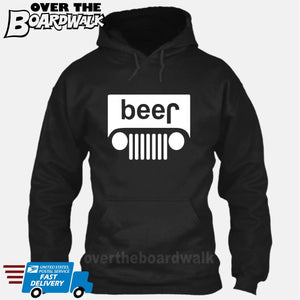 Beer White Grilles | Jeep Parody Alcohol Humour | Men's Drinking [Hoodie] Hoodie / Black / Small - Over The Boardwalk Shirts