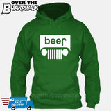 Beer White Grilles | Jeep Parody Alcohol Humour | Men's Drinking [Hoodie] Hoodie / Kelly Green / Small - Over The Boardwalk Shirts