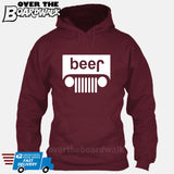 Beer White Grilles | Jeep Parody Alcohol Humour | Men's Drinking [Hoodie] Hoodie / Maroon / Small - Over The Boardwalk Shirts
