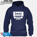 Beer White Grilles | Jeep Parody Alcohol Humour | Men's Drinking [Hoodie] Hoodie / Navy / Small - Over The Boardwalk Shirts