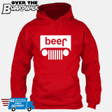 Beer White Grilles | Jeep Parody Alcohol Humour | Men's Drinking [Hoodie] Hoodie / Red / Small - Over The Boardwalk Shirts