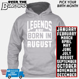 Legends are Born In (PICK MONTH) [T-shirt/Hoodie/Tank Top] Hoodie / Heather Grey - Over The Boardwalk Shirts