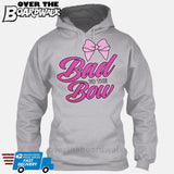 Bad to the Bow - Cheer | Cheerleading | Cheerleader [Hoodie] Hoodie / Heather Grey / Small - Over The Boardwalk Shirts