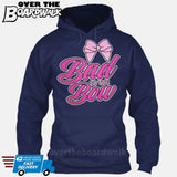 Bad to the Bow - Cheer | Cheerleading | Cheerleader [Hoodie] Hoodie / Navy / Small - Over The Boardwalk Shirts