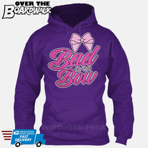 Bad to the Bow - Cheer | Cheerleading | Cheerleader [Hoodie] Hoodie / Purple / Small - Over The Boardwalk Shirts
