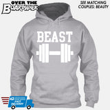 "Beauty and Beast - ""Beast"" [T-shirt/Hoodie/Tank Top]-Hoodie-Heather Grey-Over The Boardwalk Shirts"