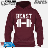 "Beauty and Beast - ""Beast"" [T-shirt/Hoodie/Tank Top]-Hoodie-Maroon-Over The Boardwalk Shirts"