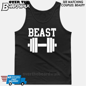 "Beauty and Beast - ""Beast"" [T-shirt/Hoodie/Tank Top]-Tank Top (men's cut)-Black-Over The Boardwalk Shirts"