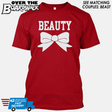 "Beauty and Beast - ""Beauty"" [T-shirt/Hoodie]-T-Shirt-Red-Over The Boardwalk Shirts"