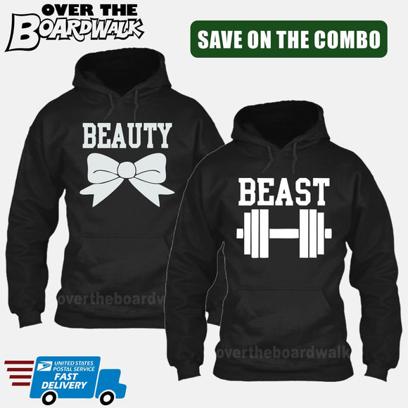 Beauty and Beast COMBO - Matching His and Her Couples Love Relationship [Hoodies] Hoodies / Black / Him (Small) - Her (Small) - Over The Boardwalk Shirts