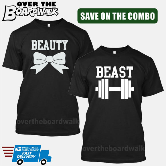 Beauty and Beast COMBO - Matching His and Her Couples Love Relationship [T-shirts] T-Shirts / Black / Him (Small) - Her (Small) - Over The Boardwalk Shirts