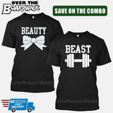 Beauty and Beast COMBO - Matching His and Her Couples Love Relationship [T-shirts]-T-Shirts-Black-Him (Small) - Her (Small)-Over The Boardwalk Shirts