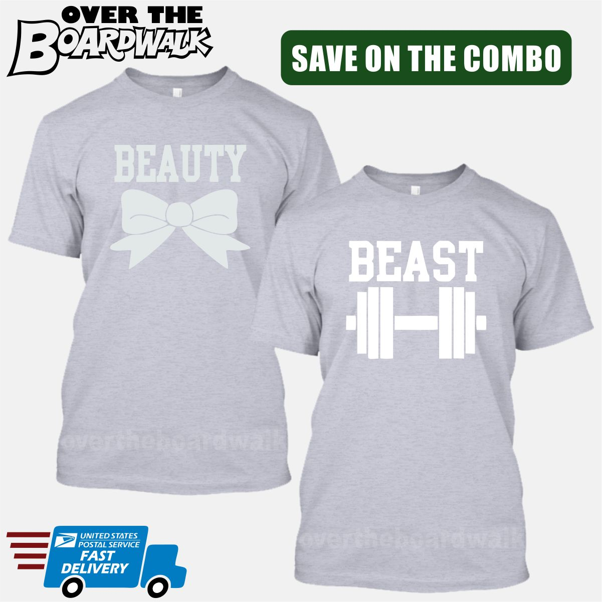 4ec39480f8 ... Beauty and Beast COMBO - Matching His and Her Couples Love Relationship  [T-shirts ...