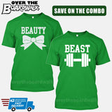 Beauty and Beast COMBO - Matching His and Her Couples Love Relationship [T-shirts]-T-Shirts-Kelly Green-Him (Small) - Her (Small)-Over The Boardwalk Shirts