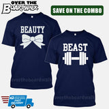 Beauty and Beast COMBO - Matching His and Her Couples Love Relationship [T-shirts]-T-Shirts-Navy-Him (Small) - Her (Small)-Over The Boardwalk Shirts