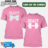 Beauty and Beast COMBO - Matching His and Her Couples Love Relationship [T-shirts]-T-Shirts-Pink-Him (Small) - Her (Small)-Over The Boardwalk Shirts