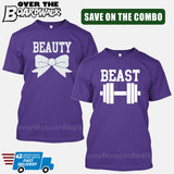 Beauty and Beast COMBO - Matching His and Her Couples Love Relationship [T-shirts]-T-Shirts-Purple-Him (Small) - Her (Small)-Over The Boardwalk Shirts