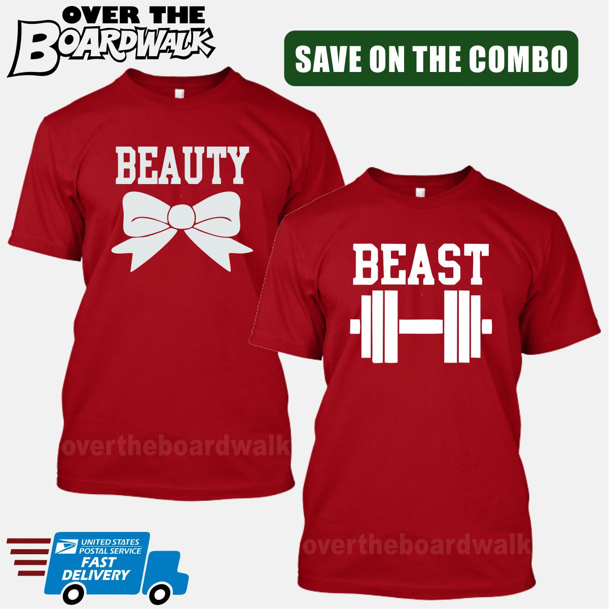09c4f21b01 ... Beauty and Beast COMBO - Matching His and Her Couples Love Relationship  [T-shirts ...