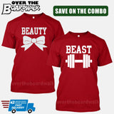 Beauty and Beast COMBO - Matching His and Her Couples Love Relationship [T-shirts]-T-Shirts-Red-Him (Small) - Her (Small)-Over The Boardwalk Shirts