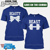 Beauty and Beast COMBO - Matching His and Her Couples Love Relationship [T-shirts]-T-Shirts-Royal Blue-Him (Small) - Her (Small)-Over The Boardwalk Shirts