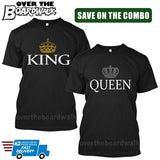 KING & QUEEN - Matching His and Her Couples Love Relationship [T-shirts] Crown Graphic-T-Shirts-Black-Him (Small) - Her (Small)-Over The Boardwalk Shirts