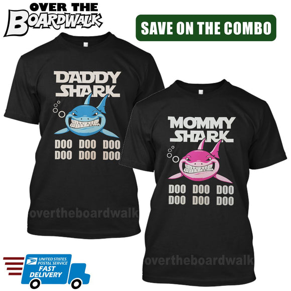 MOMMY SHARK DADDY SHARK DOO DOO DOO - Matching His and Her Couples Love Family [T-shirts]-T-Shirts-Black-Him (Small) - Her (Small)-Over The Boardwalk Shirts