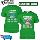 MOMMY SHARK DADDY SHARK DOO DOO DOO - Matching His and Her Couples Love Family [T-shirts]-T-Shirts-Kelly Green-Him (Small) - Her (Small)-Over The Boardwalk Shirts