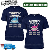 MOMMY SHARK DADDY SHARK DOO DOO DOO - Matching His and Her Couples Love Family [T-shirts]-T-Shirts-Navy-Him (Small) - Her (Small)-Over The Boardwalk Shirts