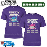MOMMY SHARK DADDY SHARK DOO DOO DOO - Matching His and Her Couples Love Family [T-shirts]-T-Shirts-Purple-Him (Small) - Her (Small)-Over The Boardwalk Shirts