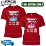 MOMMY SHARK DADDY SHARK DOO DOO DOO - Matching His and Her Couples Love Family [T-shirts]-T-Shirts-Red-Him (Small) - Her (Small)-Over The Boardwalk Shirts