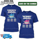 MOMMY SHARK DADDY SHARK DOO DOO DOO - Matching His and Her Couples Love Family [T-shirts]-T-Shirts-Royal Blue-Him (Small) - Her (Small)-Over The Boardwalk Shirts