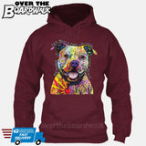 Beware of Pit bulls They Will Steal Your Heart - DEAN RUSSO LICENSED [Hoodie] Hoodie / Maroon / Small - Over The Boardwalk Shirts