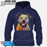 Beware of Pit bulls They Will Steal Your Heart - DEAN RUSSO LICENSED [Hoodie] Hoodie / Navy / Small - Over The Boardwalk Shirts