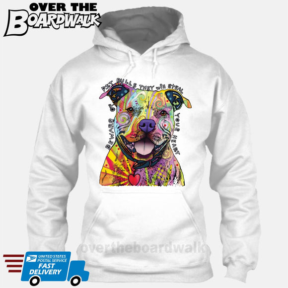 Beware of Pit bulls They Will Steal Your Heart - DEAN RUSSO LICENSED [Hoodie] Hoodie / White / Small - Over The Boardwalk Shirts