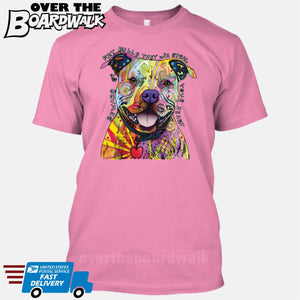 Beware of Pit bulls They Will Steal Your Heart - DEAN RUSSO LICENSED [T-shirt/Tank Top]-T-Shirt-Pink-Small-Over The Boardwalk Shirts