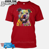 Beware of Pit bulls They Will Steal Your Heart - DEAN RUSSO LICENSED [T-shirt/Tank Top]-T-Shirt-Red-Small-Over The Boardwalk Shirts