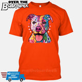 Pit bull Art (Colorful with stars) - DEAN RUSSO LICENSED [T-shirt/Tank Top]-T-Shirt-Orange-Small-Over The Boardwalk Shirts